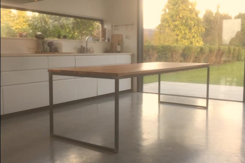 Stalen Design Tafel.Tafel Hout Staal Amazing Maatwerk Tafel Type Lima With Tafel Hout